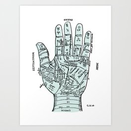Palm Reader, Chiromancy, fortune-telling Art Print