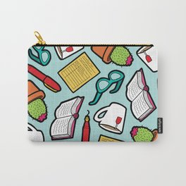 Book Club Pattern in Blue Carry-All Pouch