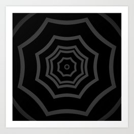 Black and Grey Striped Mandala Star Art Print