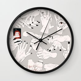 Hands / Composition - Gray version Wall Clock