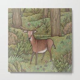 Deer in Woodland Metal Print