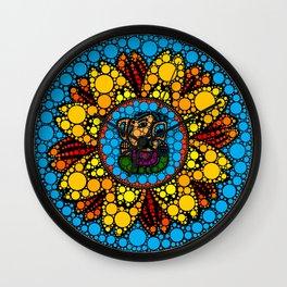 Colorful Ganesha in Marigold Flower Mandala Dot Art Wall Clock