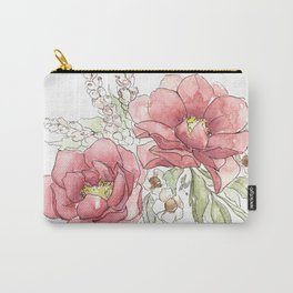 Watercolor Flowers - Garden Roses Carry-All Pouch