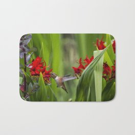 Rufous Hummingbird Feeding, No. 3 Bath Mat