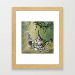 Cute little bird with funny pegasus Framed Art Print