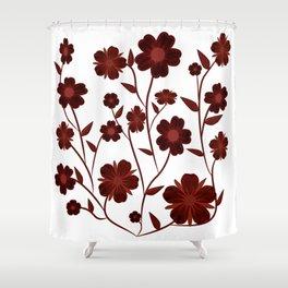 Deep Red Flowers  Shower Curtain