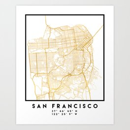 SAN FRANCISCO CALIFORNIA CITY STREET MAP ART Art Print