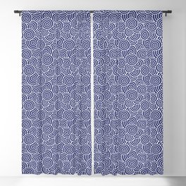 Chinese Spirals Pattern | Abstract Waves | Swirl Patterns | Circles and Swirls | Blue and White | Blackout Curtain