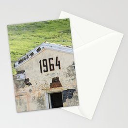 1964. Buildings of the old abandoned mercury mine Aktash. Altai Mountains, Siberia, Russia. Stationery Cards