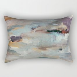 Gentle Beauty [3] - an elegant acrylic piece in deep purple, red, gold, and white Rectangular Pillow