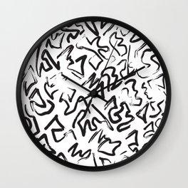 Modern Black White Abstract Graffiti Brushstrokes Wall Clock