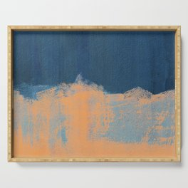 Summer Beach Abstract Orange Blue #painting #decor #society6 Serving Tray