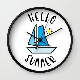 Hello Summer Sailing Wall Clock
