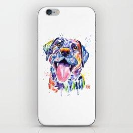 Black Lab Colorful Watercolor Pet Portrait Painting iPhone Skin