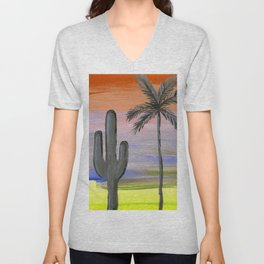 cactus and palm tree silhouette against a multi colored sky Unisex V-Neck