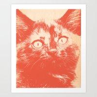 kitten Art Prints featuring KITTEN by Allyson Johnson