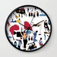 it crowd Wall Clocks featuring CROWD by Michela Buttignol