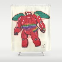 baymax Shower Curtains featuring Pride Baymax by Hayley Porter