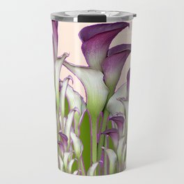ART NOUVEAU  MAROON CALLA LILIES PURPLE DESIGN Travel Mug