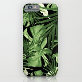Tropical Jungle Night Leaves Pattern #5 #tropical #decor #art #society6 iPhone Case