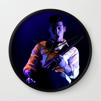 alex turner Wall Clocks featuring Alex Turner // Arctic Monkeys by Hattie Trott