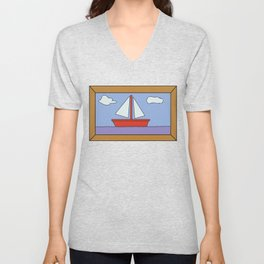 Simpsons Sailboat Artwork Unisex V-Neck