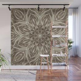 off white sepia swirl mandala Wall Mural