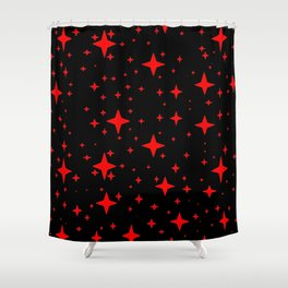 Bright Red Stars in Space , Cristmas Stars Shower Curtain