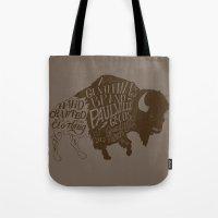 buffalo Tote Bags featuring Buffalo by Paul McCreery