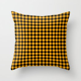 Classic Orange Country Cottage Summer Buffalo Plaid Throw Pillow