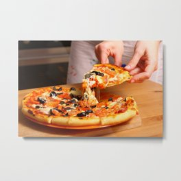 Woman hands sliced pizza. Metal Print