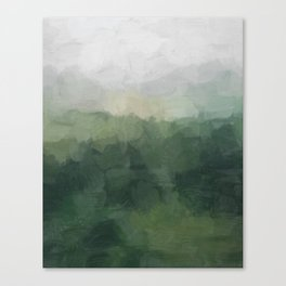 Gray Fog Green Hills Abstract Nature Scenic Painting Art Print Wall Decor  Canvas Print