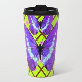 Migrating Purple Butterflies  on  Coffee Brown & Lime Color Pattern Travel Mug