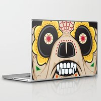 pit bull Laptop & iPad Skins featuring Pit Bull Sugar Skull by Granman