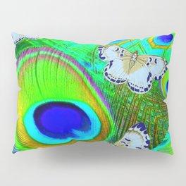 GREEN PEACOCK FEATHERS  & WHITE BUTTERFLIES FANTASY ART Pillow Sham