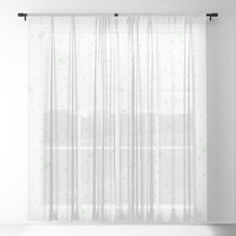 Green flying dandelion seed simple Christmas seamless pattern and Grey Confetti on White Background Sheer Curtain