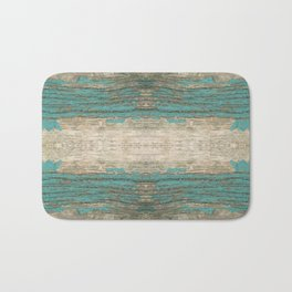 Rustic Wood - Weathered Wooden Plank - Beautiful knotty wood weathered turquoise paint Bath Mat