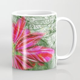 Abstract vibrant red poinsettia on green texture Coffee Mug