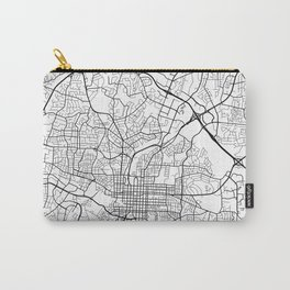 Raleigh Map, USA - Black and White Carry-All Pouch