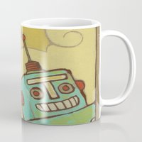 robot Mugs featuring Robot by Willow Dawson
