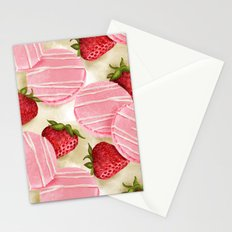 Strawberries macarons pattern Stationery Cards
