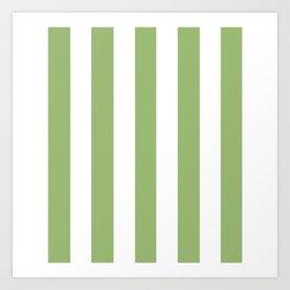Olivine green - solid color - white vertical lines pattern Art Print
