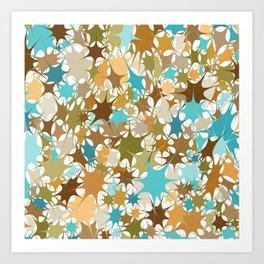 Abstract Starburst Mosaic // Turquoise, Caribbean Blue, Green, Brown // Digital Paint Splotches // V2 Art Print