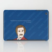 anchorman iPad Cases featuring Ron Burgundy Anchorman  by Sheena White for Winsome Gallery