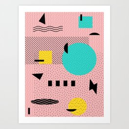 Hello Memphis Peach Berry Art Print