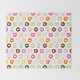 Happy Cute Donuts Pattern Throw Blanket
