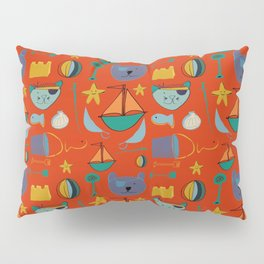 cat and bear pirate red Pillow Sham