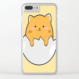 Yellow Cat Egg Clear iPhone Case