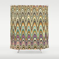 swag Shower Curtains featuring Swag stripe by Shelly Bremmer