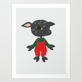 Cute black sheep. Cartoon style animal character illustration. Art Print